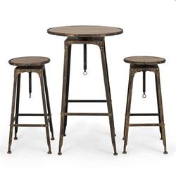 Kitchen Bar Tables And Stools Pub Table Set 3 Bar Adjustable Height Stools Bistro Indoor Kitchen Dining Ebay