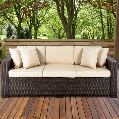 loveseat outdoor furniture outdoor wicker patio furniture sofa 3 seater luxury comfort brown wicker ebay