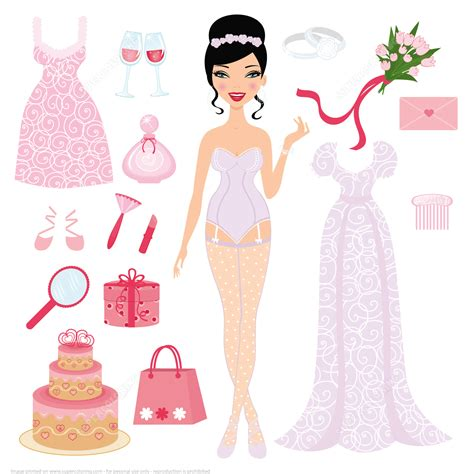 Paper Doll Crafts - dress up paper doll for wedding ceremony free