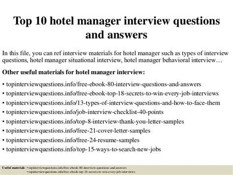 top 10 hotel manager questions and answers
