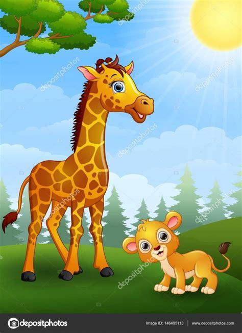 imagenes de jirafas en familia dibujos animados de cub jirafa y el le 243 n en la selva