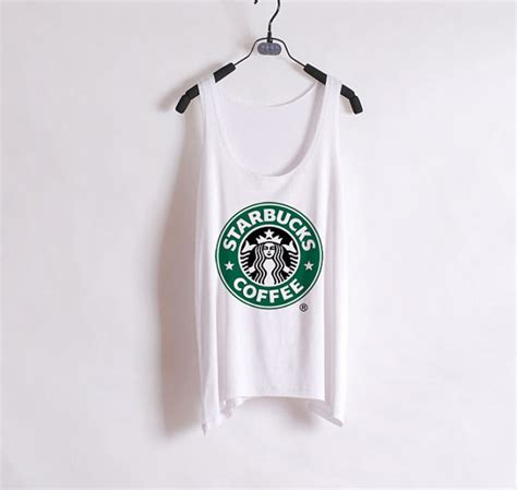 Tangtop Starbuck starbucks tank top white sides from zzzafternoon on