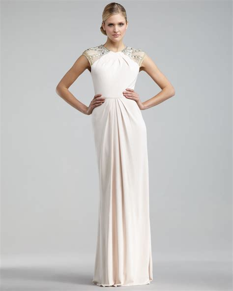 beaded cap sleeve gown lyst badgley mischka beaded cap sleeve gown in