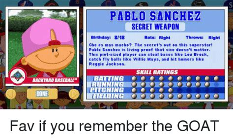 pablo sanchez backyard sports 25 best memes about baseball lou brock and willie mays