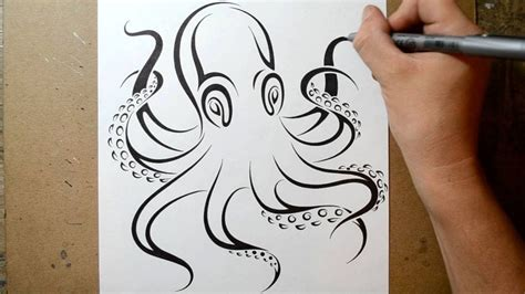 kd 151 tattoo pen how to draw an octopus tribal tattoo design style youtube