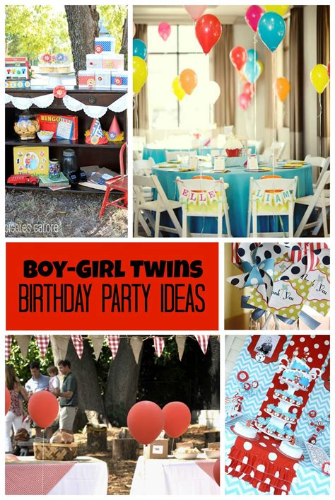 twin themed names boy girl twins birthday party ideas by double the fun