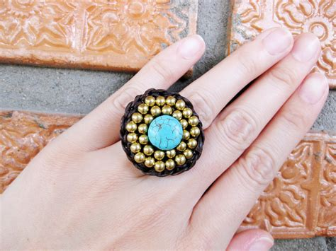 Handmade Jewelry Thailand - circle turquoise and brass adjustable ring jewelry
