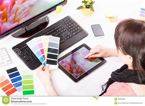 graphic design works at home graphic designer at work color sles stock photo