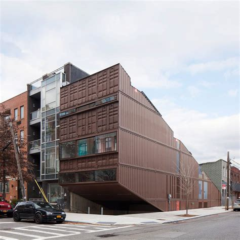 shipping containers as homes offices in williamsburg lot ek slices shipping container stack to form