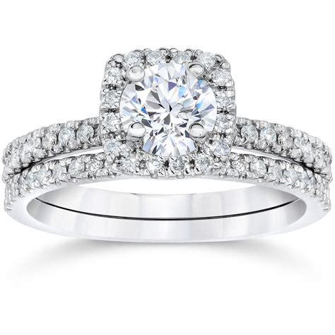 5 8ct cushion halo real engagement wedding ring