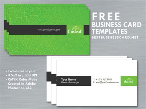 Green Themed Business Card Template by Simple Business Card Template In Green Black Theme By