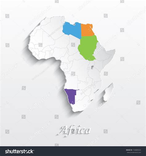 3d africa map vector vector africa map card white paper stock vector 154889324