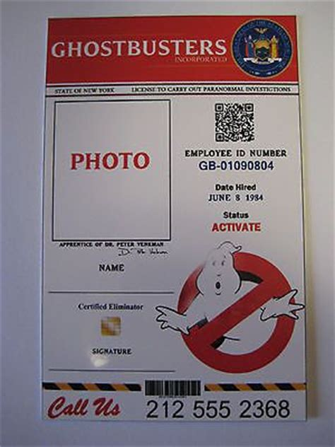 ghostbusters id card template ghostbusters plan id card we will add your name