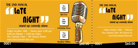 Comedy Retro Microphone Event Ticket Comedy Show Ticket Template