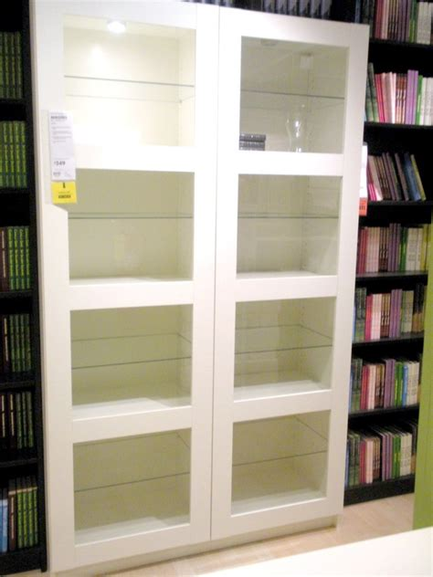 Awesome Ikea Bookshelves With Glass Doors Appealing New Glass Door Shelf