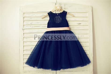 Dress Anak Pink Flower Belt Import navy blue lace tulle flower dress keyhole back with blush pink bow belt