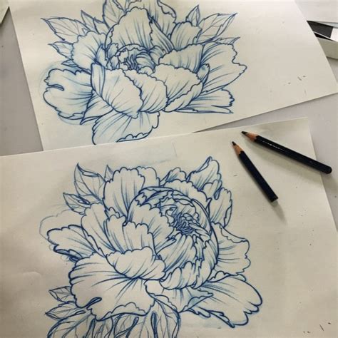 tattoo sketch generator drawn peony traditional japanese flower pencil and in