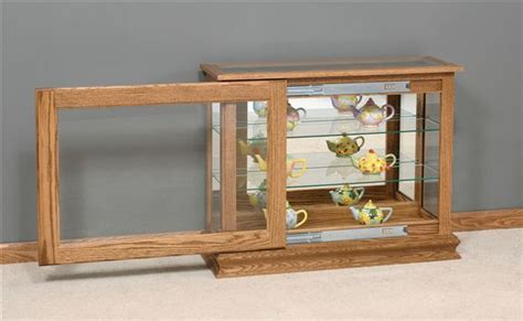 Console Cabinet With Glass Doors Amish Small Console Curio Cabinet With Sliding Door