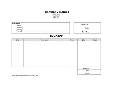 Business Invoice Unlined Template Landscaping Receipt Template