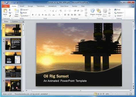 animated oil pumping powerpoint template