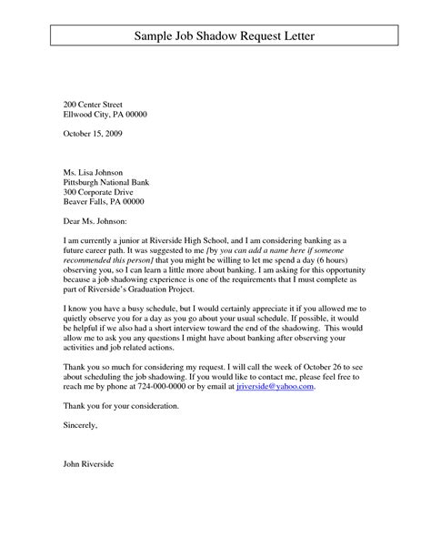 thank you letter to after transfer sle cover letter request shadowing cover letter