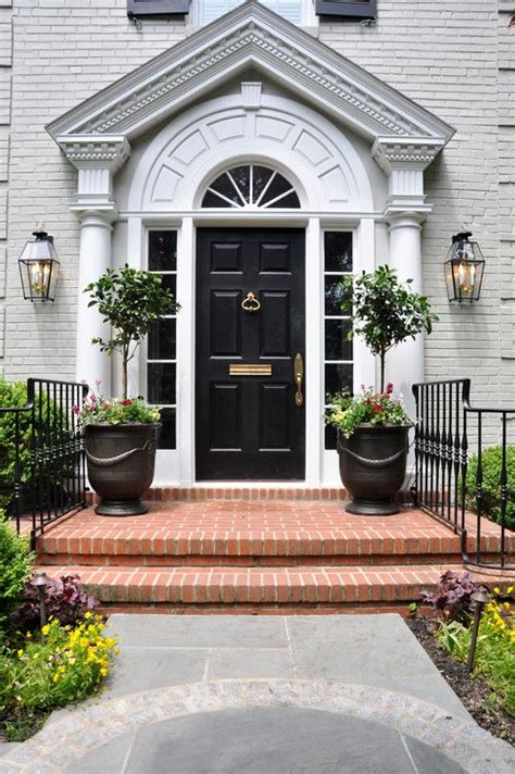 Topiaries Black Door Welcoming Traditional Entry Front Door Topiary