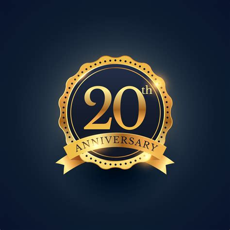 20th anniversary color 20th anniversary celebration badge label in golden color