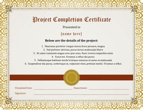 certificate template for project completion 7 certificates of completion templates free