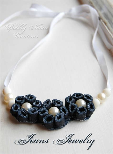 things to make jewelry denim pearl flower necklace made from