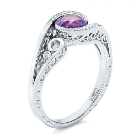 custom purple sapphire and engagement ring 102080