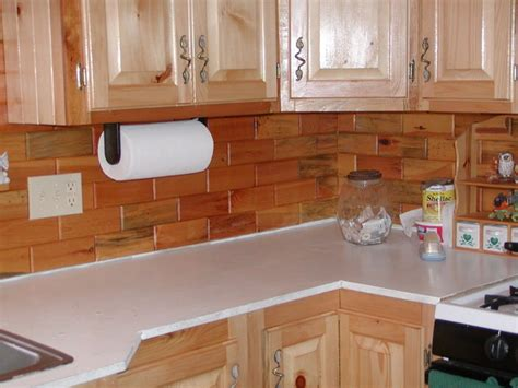 Kitchen Cabinet Towel Holder by Kitchen Back Splashes Using Our Wooden Wall Tiles Available At Homedepot Com Traditional Kitchen