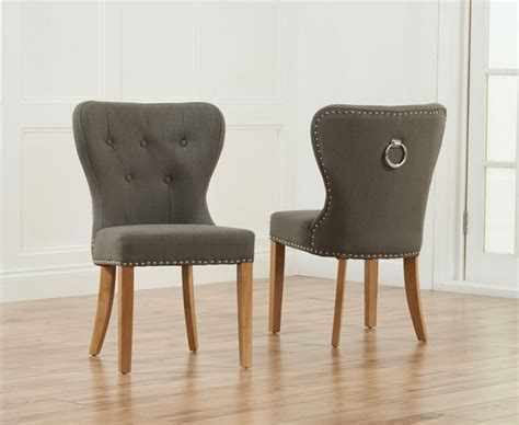 Grey Fabric Dining Room Chairs Nino Oak Grey Fabric Dining Chairs