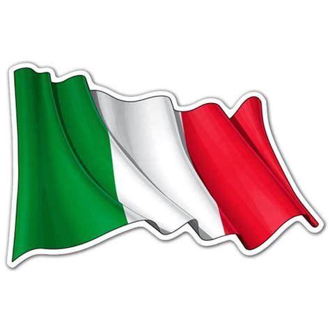 Auto Logo 2 Vlaggen by Sticker Italy Flag Waving Muraldecal