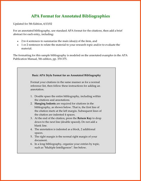 annotated bibliography apa format program format