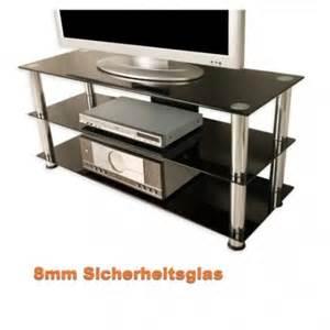 meuble tv hifi design en verre noir 110cm avec chrom 233 s