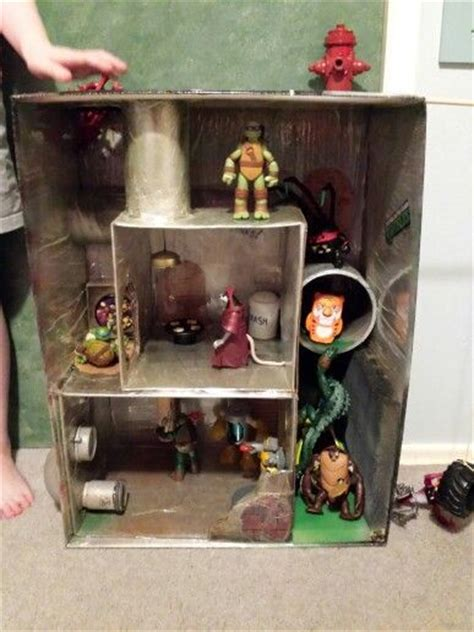 loved tmnt playset homemade  recycled junk