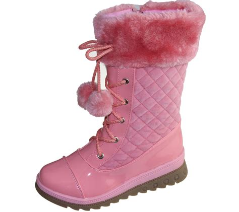 girls warm linned boots pom pom winter christmas high top