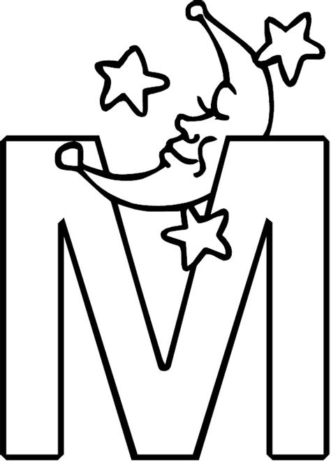 M Word Coloring Pages by Letter M Alphabet Coloring Page