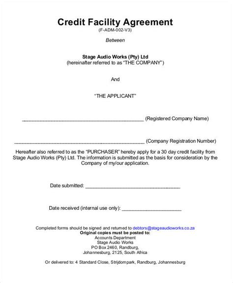 Line Of Credit Contract Template credit agreement template 28 images free printable
