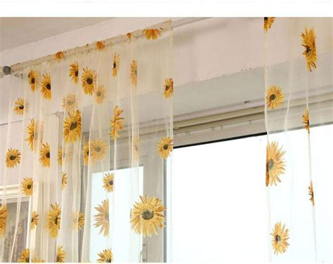 Sunflower Valance Curtains Sunflower Floral Tulle Voile Curtain Home Window Balcony Panel Sheer Valance Ebay