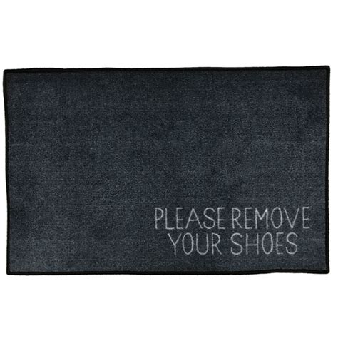 Remove Your Shoes Mat by Remove Your Shoes Message Doormat Grey