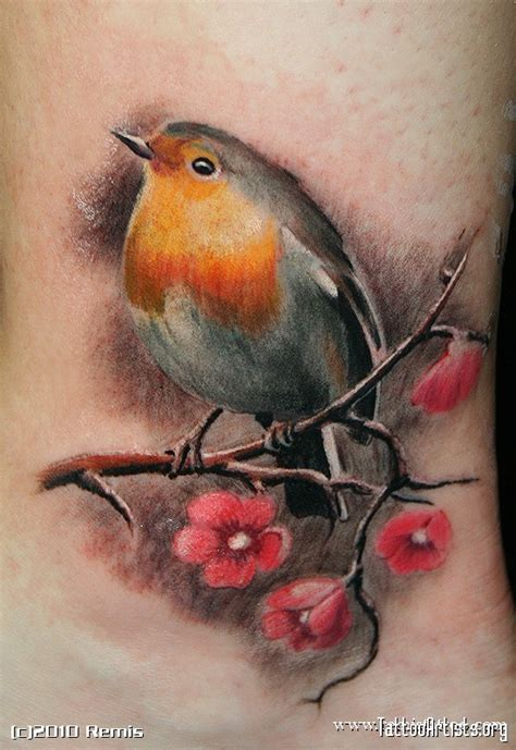 small robin tattoo cherries blossoms ideas birds robin