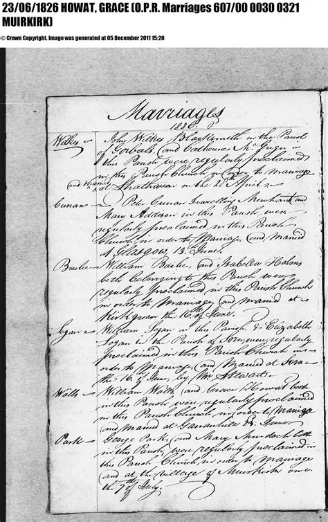 Lanarkshire Scotland Birth Records William Walls And Grace Howat Married In Muirkirk 1826