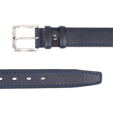 italian blue leather belt threaded nvth34np capopelle