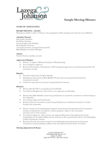 exles of minutes of a meeting template sle of minutes of meeting