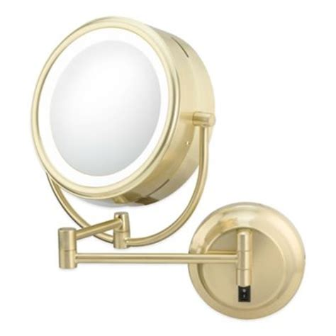 brass bathroom mirrors neo modern double sided 1x 5x led wall mirror in brushed brass