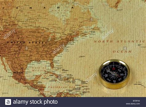 united states map with compass a brss compass on an map showing the atlantic