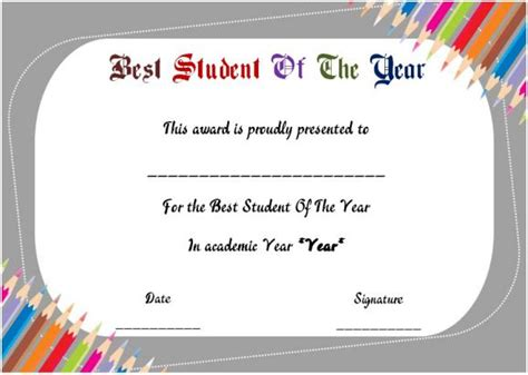 best student certificate template student of the year award certificate templates 20 free