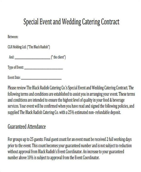 Wedding Catering Contract Sle by 46 Sle Contract Templates