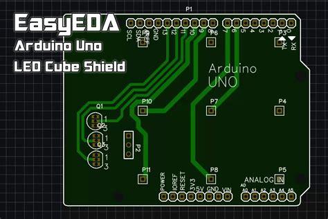 pcb layout logo easyeda arduino uno 3x3x3 led cube shield pcb layout
